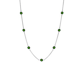 Green Russian Chrome Diopside Sterling Silver Station Necklace 2.75ctw