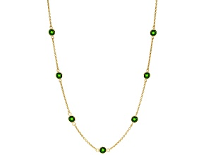 Green Russian Chrome Diopside 18K yellow gold over sterling silver station necklace 2.75ctw