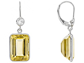 Yellow Brazilian Citrine Rhodium Over Sterling Silver Dangle Earrings 15.00ctw