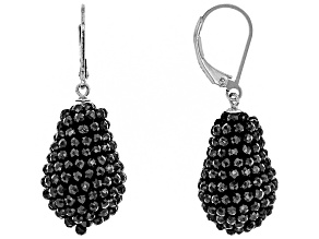 Black Spinel Rhodium Over Sterling Silver Dangle Earrings 20.00ctw