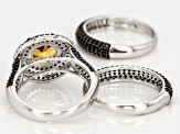 Yellow Brazilian citrine sterling silver rings 4.10ctw