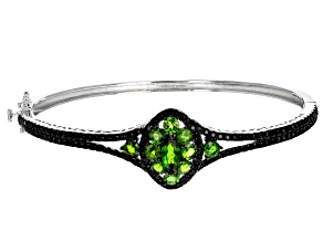 Green Russian chrome diopside sterling silver bangle bracelet 4.81ctw