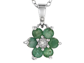 Green Indian emerald sterling silver pendant with chain .67ctw
