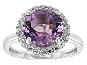 Purple Brazilian Amethyst Sterling Silver Ring 3.41ctw