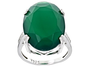 Green Onyx Sterling Silver Ring .14ctw