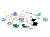 Multiple Color Sterling Silver Set Of 6 Dangle Earrings
