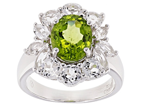 Green peridot sterling silver ring 5.92ctw
