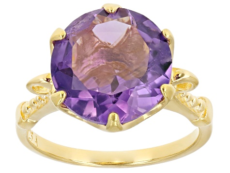 Purple amethyst 18k yellow gold over sterling silver ring 5.00ctw