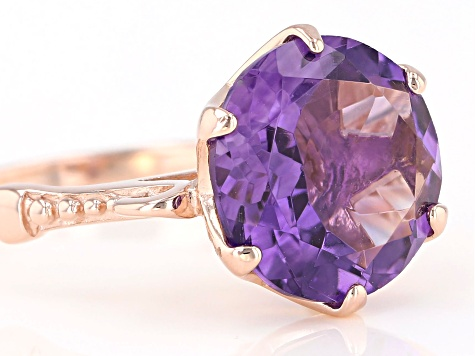 5.00ct round amethyst 18k rose gold over sterling silver ring