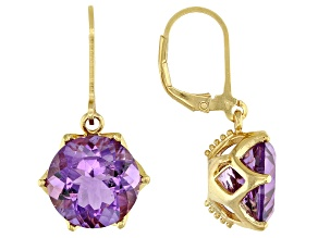 Purple Brazilian amethyst 18K yellow gold over sterling silver dangle earrings 10.00ctw