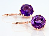 Purple Brazilian amethyst 18K rose gold over sterling silver dangle earrings 10.00ctw