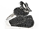 Black spinel sterling silver ring 2.35ctw