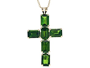 Green Russian chrome diopside 10K yellow gold cross pendant 3.60ctw