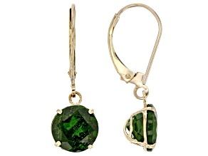Green Russian chrome diopside 10K yellow gold dangle earrings 4.40ctw