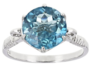 London Blue Topaz rhodium over sterling silver solitaire ring 5.50ctw