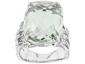 Green Brazilian prasiolite sterling silver ring 15.00ct