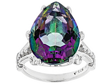 Multi color quartz rhodium over sterling silver ring 10.00ct