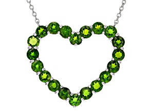 Green Russian chrome diopside sterling silver heart necklace 5.90ctw