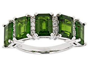 Green Russian chrome diopside sterling silver ring 5.04ctw