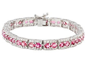 Pink tourmaline sterling silver tennis bracelet 10.82ctw