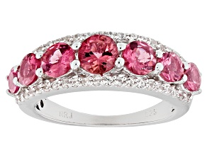 Pink tourmaline rhodium over sterling silver ring 2.41ctw