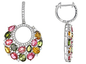 Mixed color tourmaline sterling silver earrings 14.40ctw