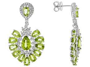 Green peridot rhodium over sterling silver dangle earrings 15.94ctw