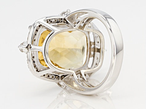 Yellow citrine sterling silver ring 13.50ctw