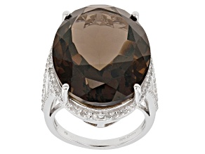 Brown smoky quartz sterling silver ring 25.60ctw