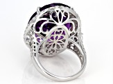 Purple African amethyst sterling silver ring 27.50ctw