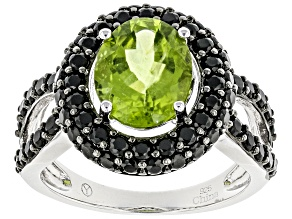Green peridot sterling silver ring 5.10ctw