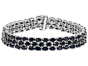 Blue sapphire rhodium over sterling silver multi row bracelet 33.50ctw