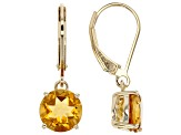 Yellow Brazilian citrine 18K yellow gold over sterling silver solitaire earrings 3.75ctw