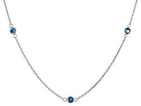 London Blue Topaz Sterling Silver Station Necklace 5.00ctw