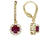 Red ruby 18K yellow gold over sterling silver dangle earrings 2.40ctw