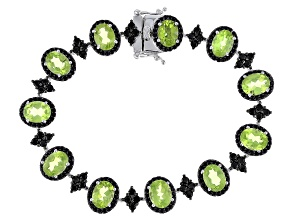 Green Peridot Rhodium Over Sterling Silver Bracelet 17.25ctw