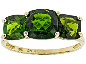 Green Russian chrome diopside 10K yellow gold 3-stone ring