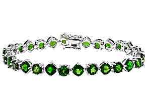 Green Russian chrome diopside sterling silver bracelet 16.18ctw