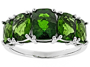 Green Russian chrome diopside sterling silver ring 3.95ctw