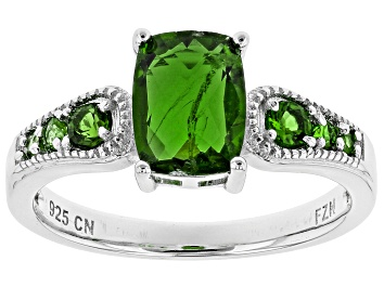 Picture of Green Russian chrome diopside rhodium over sterling silver ring 1.51ctw