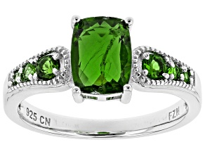 Green Russian chrome diopside rhodium over sterling silver ring 1.51ctw