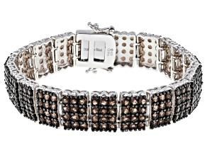 Brown Brazilian smoky quartz sterling silver bracelet 13.20ctw