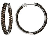 Brown Brazilian Smoky Quartz Rhodium Over Sterling Silver Hoop Earrings 5.00ctw