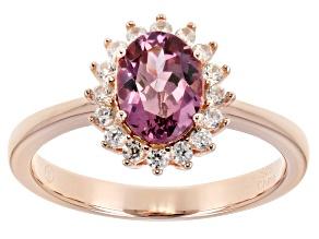 Pink garnet 18K rose gold over sterling silver ring 1.51ctw