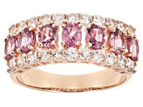 Pink garnet 18k rose gold over sterling silver ring 2.42ctw