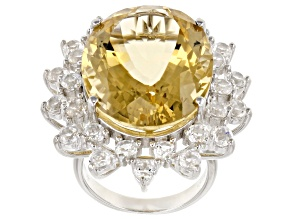 Yellow Brazilian Citrine Rhodium Over Sterling Silver Ring 28.50ctw