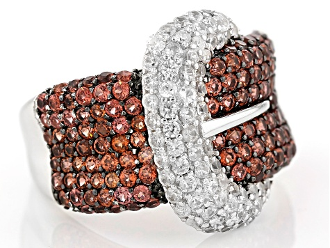 Red garnet sterling silver buckle ring 3.80ctw