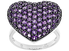 Purple African amethyst sterling silver heart ring 2.59ctw