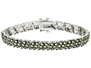 Green peridot sterling silver multi-row bracelet 8.25ctw