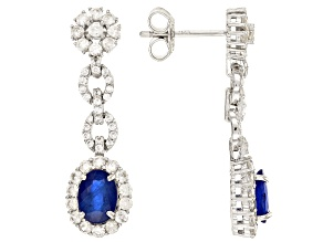 Blue Spinel Sterling Silver Dangle Earrings 4.45ctw